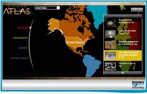 Discovery Education streaming includes an interactive atlas.