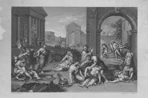 This engraving from 1754 depicted a plague epidemic in Greco-Roman times. The plague has broken out in different countries through the centuries but none as horrific as the outbreak in 14th century Europe.