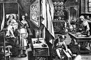 This engraving shows a doctor attempting to cure a man of syphilis in the 16th century.