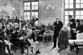 French neurologist Jean-Martin Charcot gives a clinical lecture at the Salpetriere hospital, Paris in 1887, while hypnotizing a hysterical patient. Charcot, the father of neurology, was director of the hospital and also named Parkinson's disease.