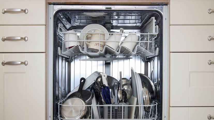 a fully stacked dishwasher