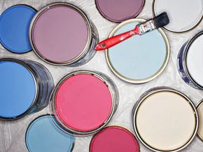 Once the paint is on the walls, what should you do with the can?