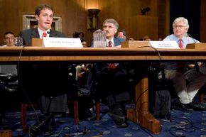 From left, Jason Burnett of the EPA; Kevin Trenberth, head of climate analysis at the National Center for Atmospheric Research; and Roy Spencer, a research scientist at the University of Alabama, testify at a 2008 senate hearing on global warming.