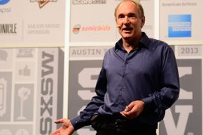 Tim Berners-Lee, inventor of the World Wide Web, speaking at the 2013 SXSW Music, Film + Interactive Festival.