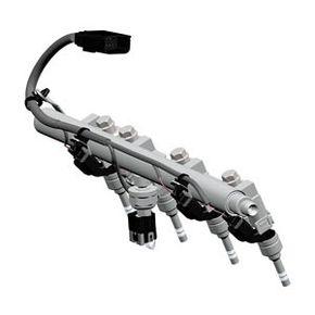 A 2010 Ecotec 2.4L engine fuel rail. This part distributes fuel to the injectors.