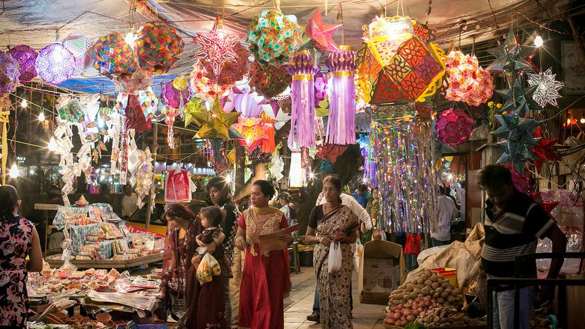 shopping for decorations for Diwali