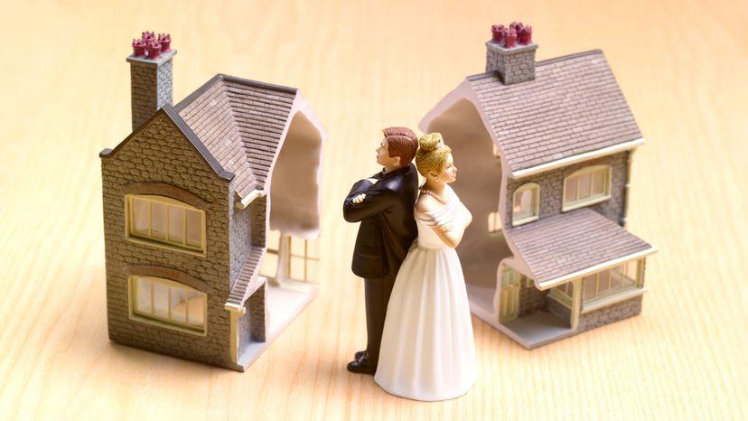Divorced Couple Upset with Broken Home in Background