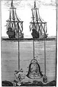 Diving bells were sometimes attached to frigates and schooners.