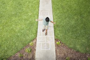 Hopscotch is easy to set up and play, is fun for all ages, and is an excellent balance workout.