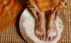 Exfoliating with a salt scrub will get rid of the dead skin.