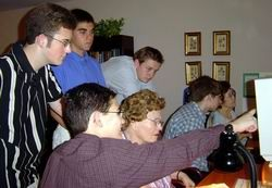 Daniel Kent and the Senior Connects team during a computer training session