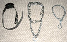 Some commonly used positive punishers include shock collars, prong collars and choke chains.