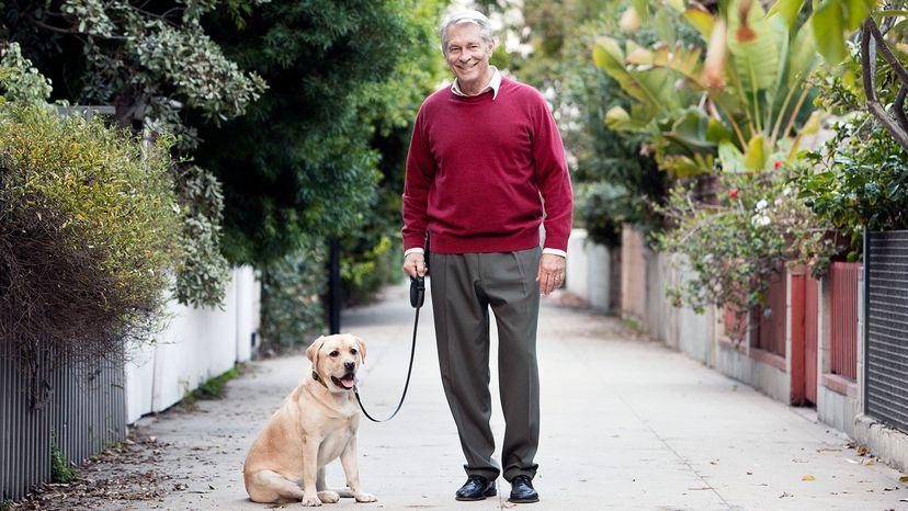 senior walking dog