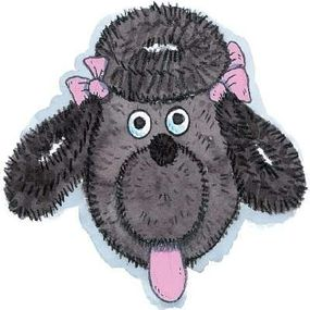 Glue on the tongue, ears and pink satin bows to complete the poodle's look.
