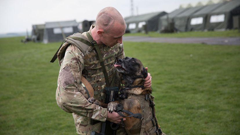Private Terry Gizinski and his military working dog Cheyenne