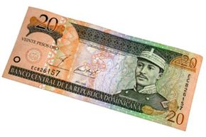 A 20-peso bill, which features the image of Gregorio Luperón wearing 19th-century military clothing.