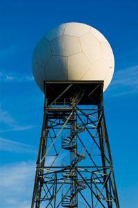 A Doppler weather radar tower