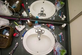 Two college students share this messy bathroom sink.See other pictures of the college experience .