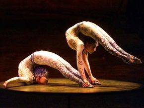 """Bodily Feats Image Gallery Contortionists Tsveendorj Nomin and Chimed Ulziibayar perform in Cirque de Soleil's """"Alegria."""" See more bodily feat pictures."""