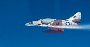 American experience during the Korean War suggested a role for a lightweight, low-cost ground-support and attack aircraft. Hence, the Douglas A-4 Skyhawk, with a relatively small size that was dictated by the Navy's need for a swift, carrier-based attack plane. See more military jets pictures.