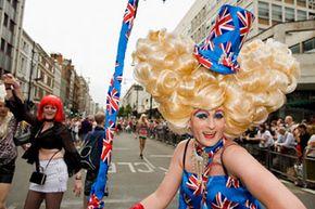 A British drag queen celebrates gay pride in London.
