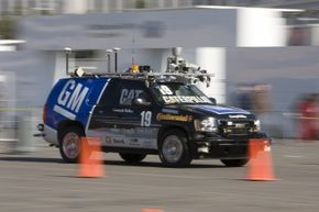 """The driverless """"Boss"""" uses a combination a combination of lidar, radar, vision and mapping GPS systems to """"see."""" It used only electronics to successfully drive itself through the DARPA 60-mile urban course in 2007."""