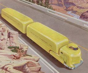 futuristic truck illustration on highway