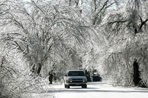 Car Safety Image Gallery Those icy Kansas roads, look pretty -- pretty dangerous. Try to stay off them unless it's an emergency. See more pictures of car safety.
