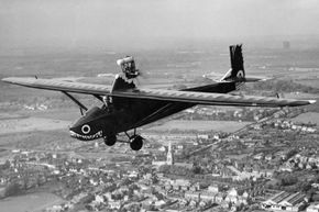A 1934 Lowe Wilde Drone aircraft painted by the artist William Heath Robinson