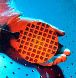 This wafer was patterned on a prototype device using extreme-ultraviolet lithography (EUVL). See more computer hardware pictures.