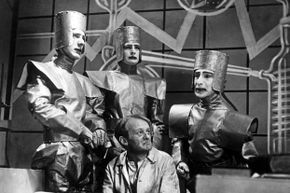 """A scene from a 1938 TV production of """"R.U.R."""", or """"Rossum's Universal Robots,"""" the play which introduced the term """"robot"""" into many of the world's languages."""