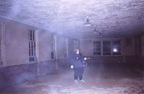 A researcher makes audio recordings at Manteno State Mental Hospital.