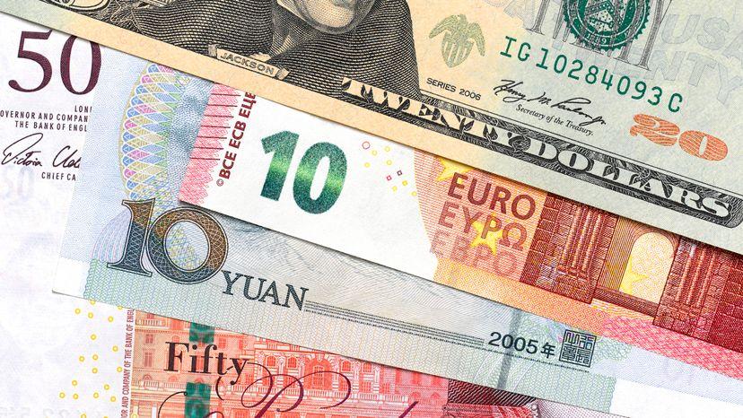 Banknotes from USA, CHINA, UK and Europe