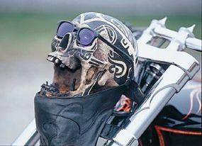 "Dressed for daytime, the ""skull light"" dons sunglasses. But come dark...."