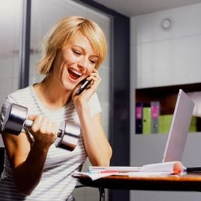 Fit in some free weight exercises during a long phone call. See more staying healthy pictures.
