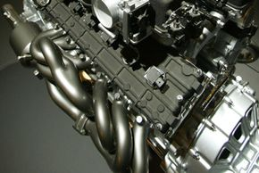 Car Engine Image Gallery The exhaust headers of a Lamborghini Murcielago. See more car engine pictures.