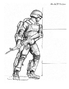 An artist's concept of how future soldiers will look when wearing exoskeletal machines.