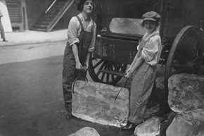 During World War 1, girls delivered ice to homes and businesses, a job normally done by boys and men. In the U.S., no one needs home delivery of ice any more.