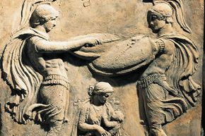 Wet nurses were so much a part of Ancient Roman culture that this relief shows the god Jupiter as a child with his wet nurse and two warriors.