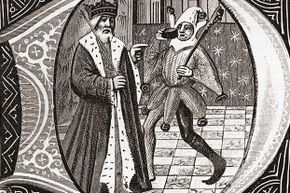 This early 15th century drawing shows a king with his jester.