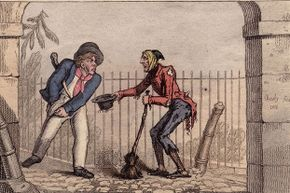 In this illustration, a crossing sweeper attempts to get a larger tip with a sad story; most sweepers were poor boys and men.