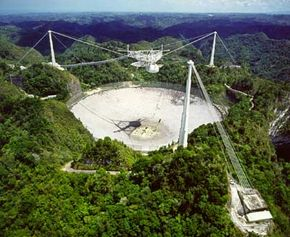 Aerial view of the Arecibo Observatory in Puerto Rico