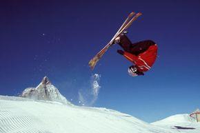 Freestyle tricks add extra extreme to extreme skiing.