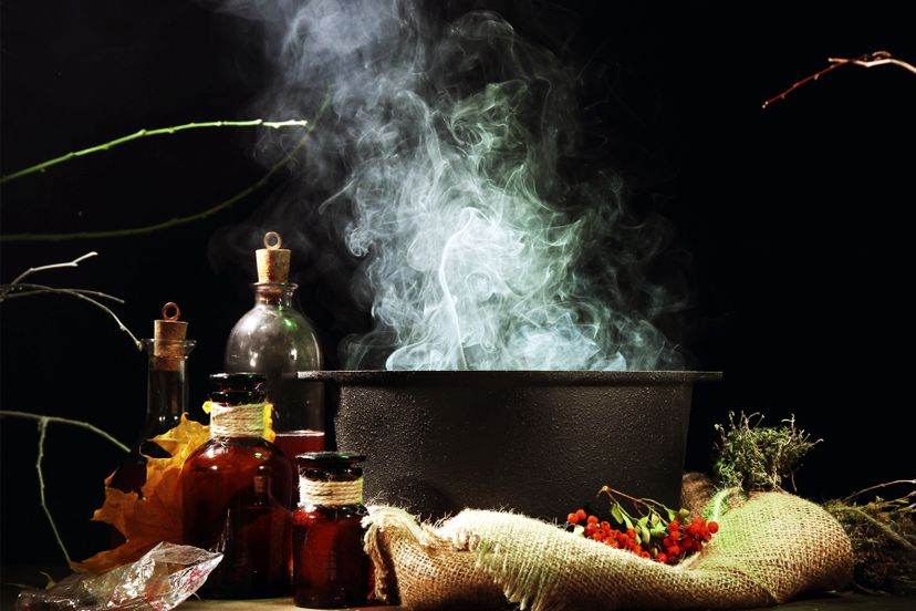 A witch's cauldron and materials.