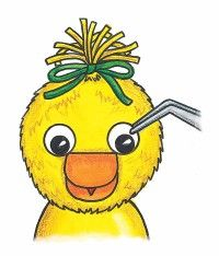 Use yellow poms and wiggle eyes to create a cute baby chick.