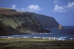 Moai line Easter Island's coast to protect the Rapanui.