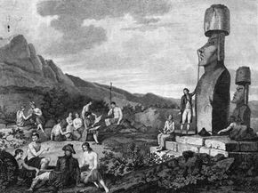 In this circa 1790 sketch, European explorers measure and record details of the moai.