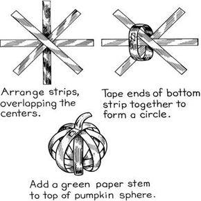 Woven pumpkin Halloween craft instructions.