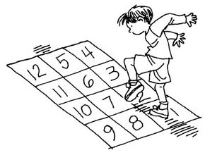 Try playing hopscotch with 12 squares.