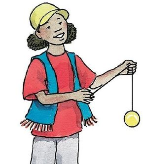 Grab the yo-yo string with the thumb. Move your free hand up and away and your yo-yo hand down.